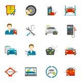 Auto Mechanic Flat Icons Set. Auto mechanic and car repair flat icons set isolated vector illustration Stock Photo