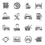 Auto Mechanic Icons Set. Auto mechanic and car technician work black icons set isolated vector illustration Stock Photo