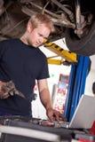 Auto Mechanic with Laptop Stock Photos