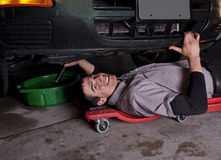 Auto Mechanic Oil Change Stock Image