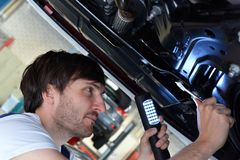 Auto mechanic repairs vehicle in a workshop. Closeup photo royalty free stock photos