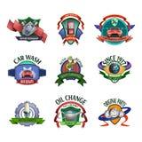 Auto mechanic service emblems set Stock Photos