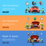 Auto mechanic service flat banners set. Auto mechanic full service interactive internet homepage with 3 horizontal  flat banners set abstract vector Stock Image