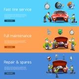 Auto mechanic service flat banners set Stock Image
