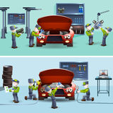 Auto mechanic service flat banners set Stock Image
