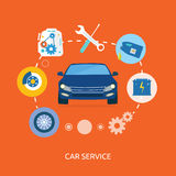 Auto mechanic service flat icons of maintenance. Car repair. Auto service concept. Car service diagnostics. Computers are used to communicate with auto Stock Photo