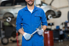 Auto mechanic or smith with wrench at car workshop Stock Image