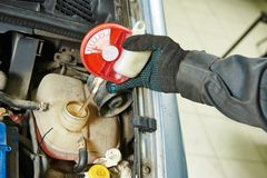 Auto mechanic tests car antifreeze liquid Stock Photos