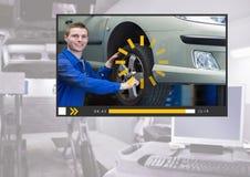 Auto Mechanic Video Player App Interface Stock Image