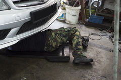 Auto Mechanic at work Stock Photos
