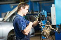 Auto mechanic at work with wrench spanner Royalty Free Stock Photos