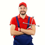 auto mechanic with wrench isolated on white royalty free stock images