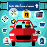 Auto Mechanical Service Decorative Icons Set Royalty Free Stock Photography