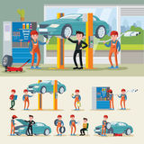 Auto Mechanics Composition. With different car repair services and engine diagnostic in workshop vector illustration vector illustration