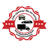 Auto Mechanics and Techs needed. Jobs opening. We are hiring - grunge business stamp / label Royalty Free Stock Images