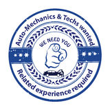Auto Mechanics and Techs needed. Jobs opening. We are hiring - grunge business stamp / label Royalty Free Stock Image