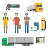 Auto Mechanics, Trucker, Cargo Trailer Truck, Road Attributes Set Vector Illustration. On White Background stock illustration