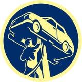 Auto mechanika samochodu samochodu naprawa Retro royalty ilustracja