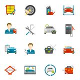 Auto Mechanisch Flat Icons Set Stock Foto
