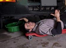 Auto Mechanische Olieverversing stock afbeelding