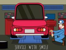 Auto mekaniker i reparation Arkivbilder