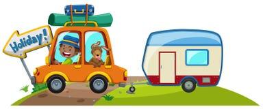 Auto met bagage en caravan stock illustratie