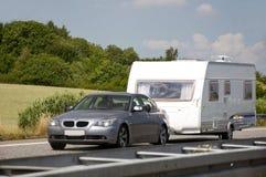 Auto met caravan Stock Fotografie