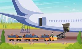 Auto met de Vlakke Illustratie van Bagagepassagiers stock illustratie
