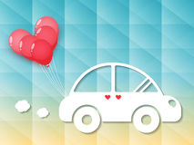 Auto met rode hartballons stock illustratie