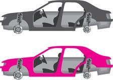 Auto met wielen van deuren van autolichaam vector illustratie