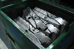 Auto metal work. Container with auto metal work stock photo