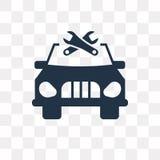 Auto mit der Reparaturausrüstungs-Vektorikone lokalisiert auf transparentem Ba lizenzfreie abbildung