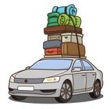 Auto mit Gepäck Stockbild