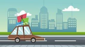 Auto mit Gepäck auf Animation der Straße HD vektor abbildung