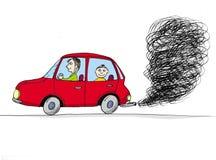Auto mit Rauche, Karikatur Stockfotografie