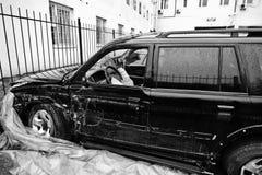 Auto na ongeval Kant van een voertuig na een autoneerstorting Royalty-vrije Stock Foto