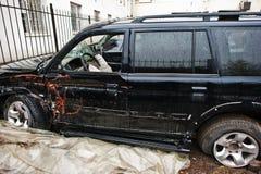 Auto na ongeval Kant van een voertuig na een autoneerstorting Royalty-vrije Stock Foto's