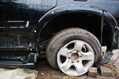 Auto na ongeval Vooreind van een voertuig na een autoongeval Stock Foto
