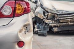 Auto na ongeval wordt beschadigd dat Royalty-vrije Stock Foto's
