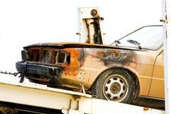 Auto nach Feuer Stockbild