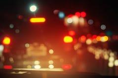 Auto-Nachtstadt gestoppte nicht rollender Verkehr-Straße Lizenzfreie Stockfotos