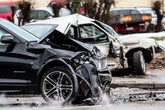 Auto olycka bilar kraschade Arkivfoton