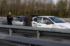 Auto olycka på den Germnay motorwayen Arkivfoton