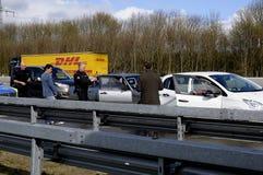 Auto olycka på den Germnay motorwayen Royaltyfri Foto