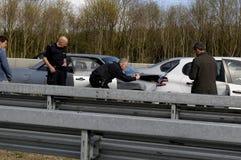 Auto olycka på den Germnay motorwayen Royaltyfria Bilder