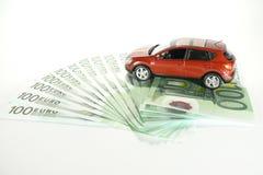 Auto op contant geld Stock Afbeelding