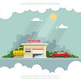 Auto op de achtergrond van de stad Vlakke vectorillustratie Stock Foto