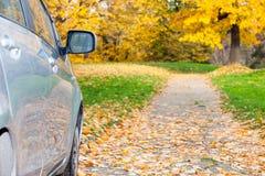 Auto op de landweg Stock Foto
