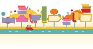 Auto op een weg met aanplakborden stock illustratie