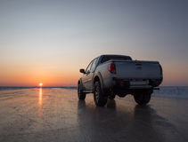 Auto op het ijs Stock Foto's